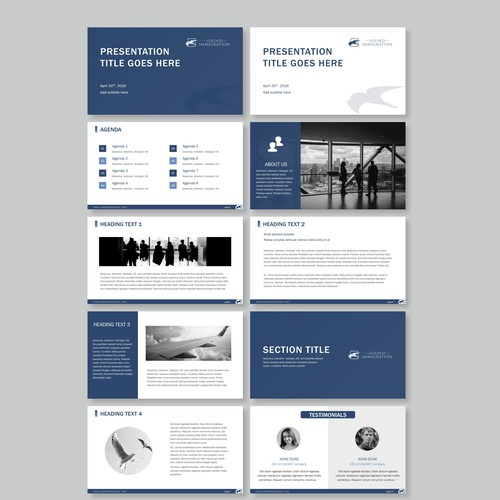 Powerpoint template for creative Immigration law firm
