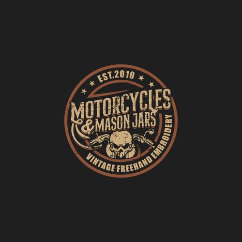 Logo concept of MOTORCYCLE & MASON JARS