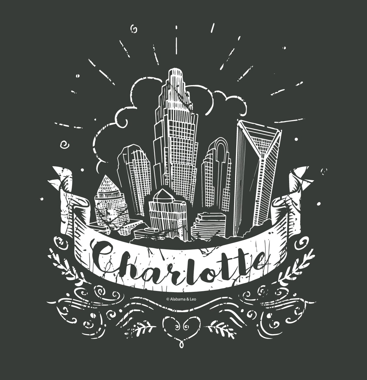 Tshirt design the embodies the place we love. Charlotte, NC