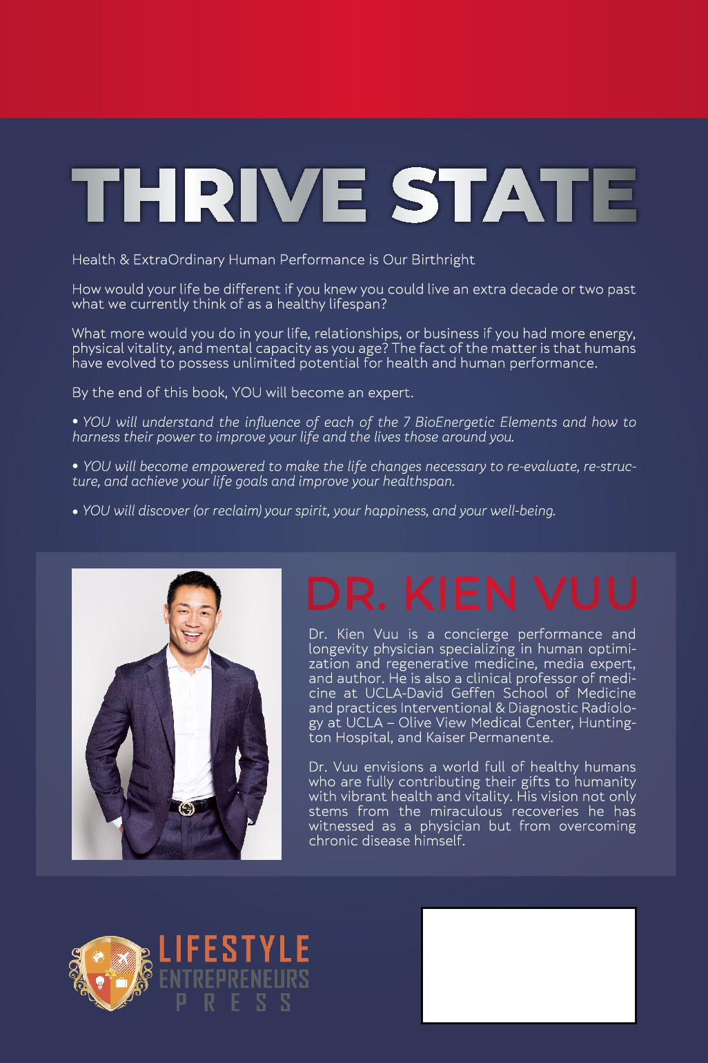 THRIVE STATE - Book Cover Design for UCLA Professor of Medicine