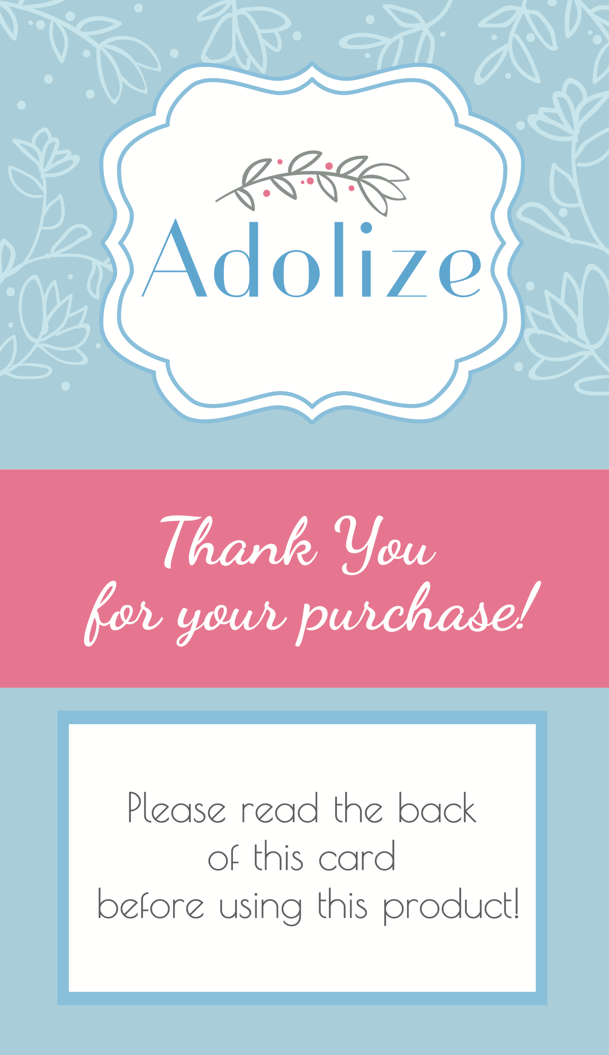 ADOLIZE double-sided insert, incentive insert