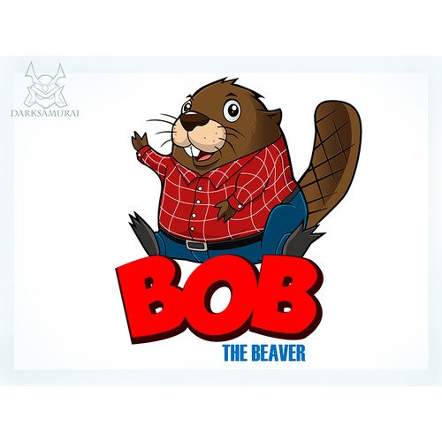 Bob The Beaver Cartoon Character Logo Design