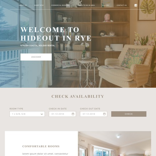 Homepage for the hotel