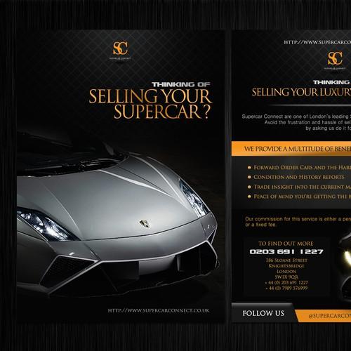 Create a flyer for a Supercar Broker dealing with Lamborghini & Ferrari in London