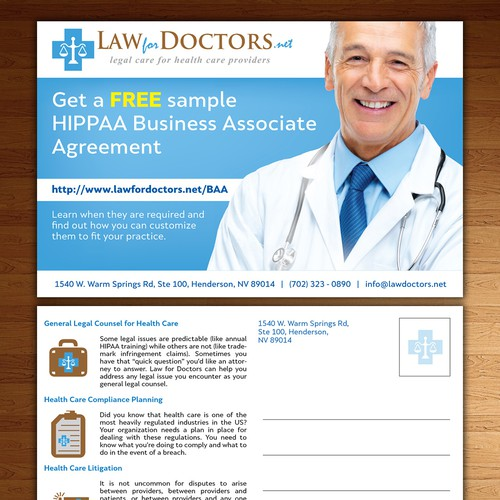 Create a flyer for a law firm that represents doctors