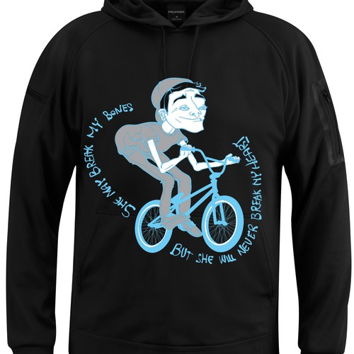 Create a hoodie design for BMX riders