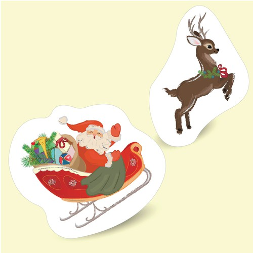 Santa Claus and deer illustration