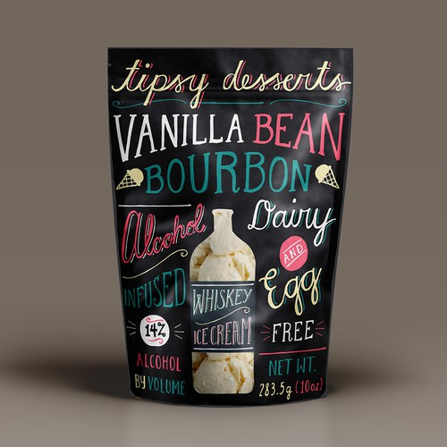 tipsy desserts label illustration