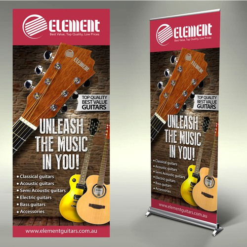 Create a capturing stand-up banner for Element Guitars