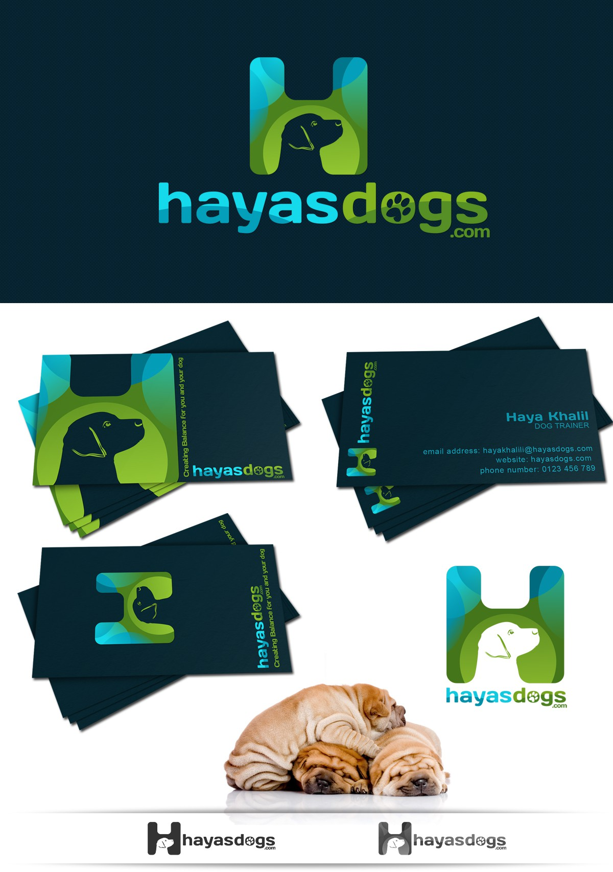 logo and business card for Dog Trainer