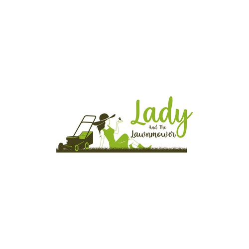 lady and lawnmower