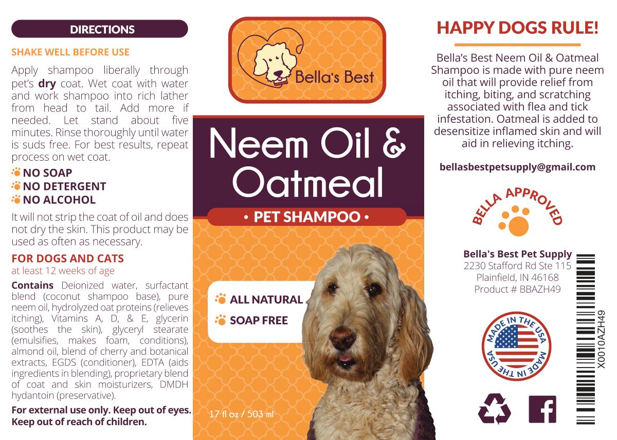 Bella's Best Neem Oil & Oatmeal Pet Shampoo label redesign/update