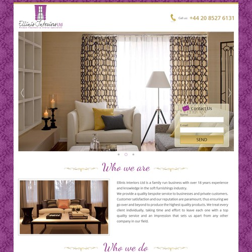 Design the quirky creative web page for Ellinis Interiors!