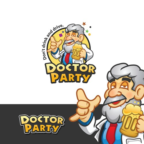 logo and character design for The Party Brand, DOCTOR PARTY