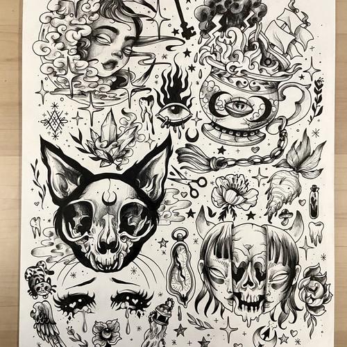 Dark Tattoo Flash Sheet