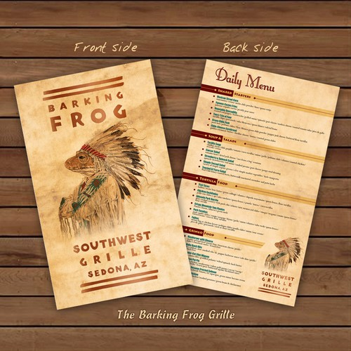 Menu Design For Barking Frog Grille