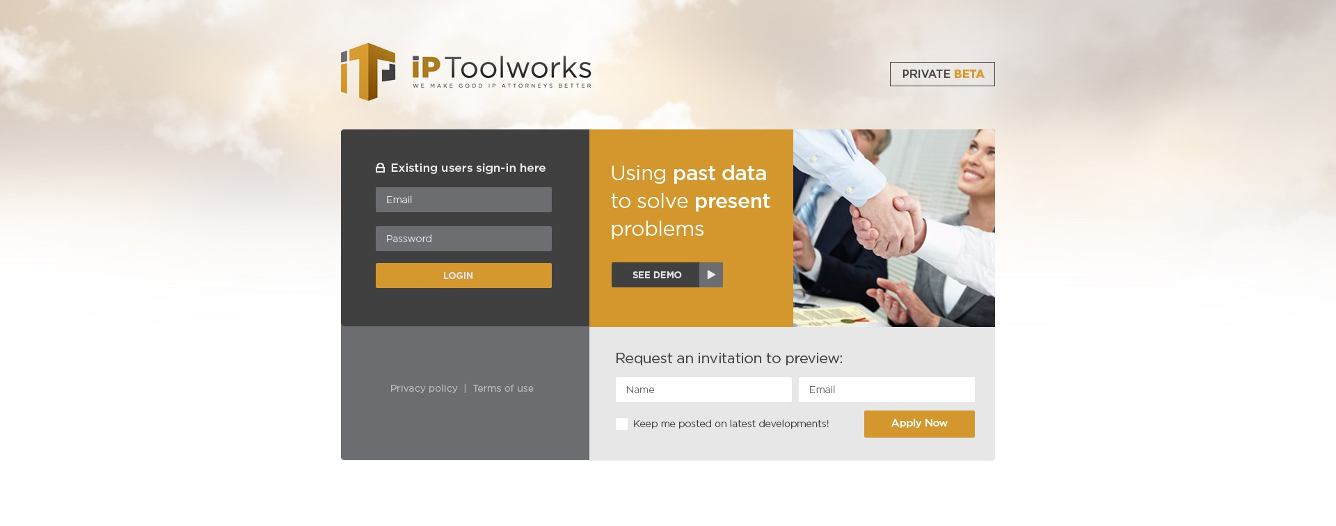 Smart, professional & to the point: landing+login pg for IP Toolworks  (no coding/possible future projects)