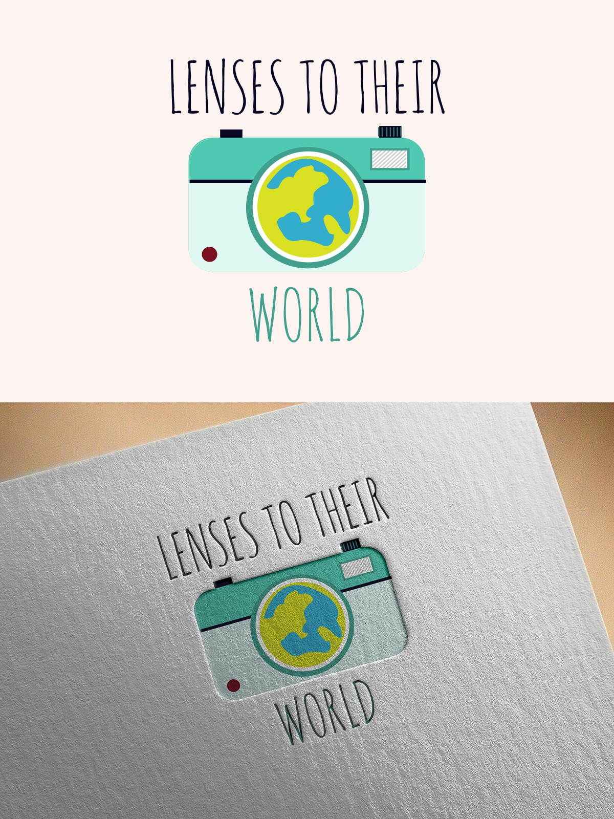 Create a logo for a new photography charity for children called Lenses to Their World!