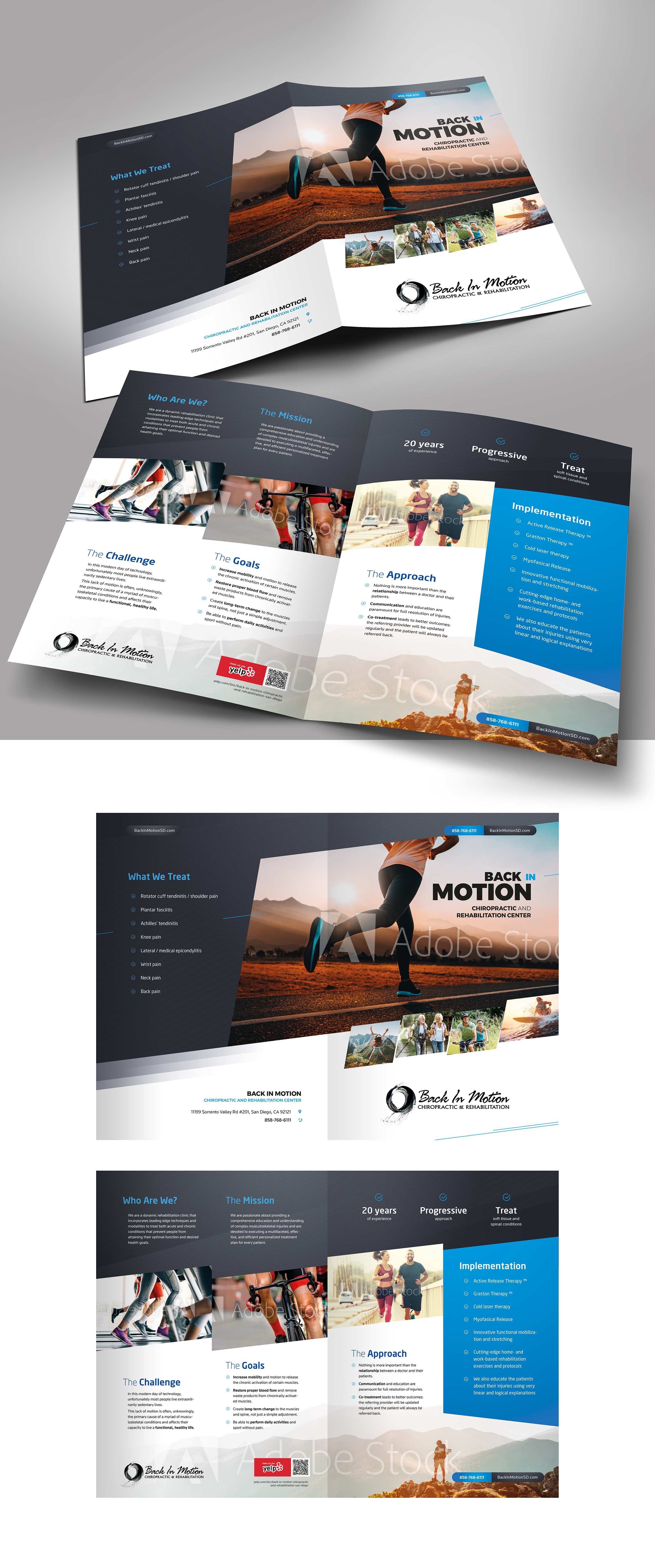 Design an eye-catching and modern brochure for Back in Motion rehab clinic