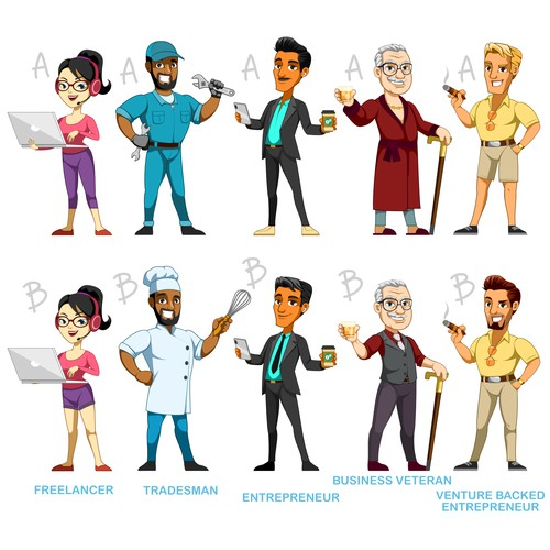 Mascot and character designs for business consultant company