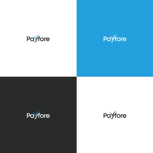 """Simple logo for fintech company named """"Payfore""""."""