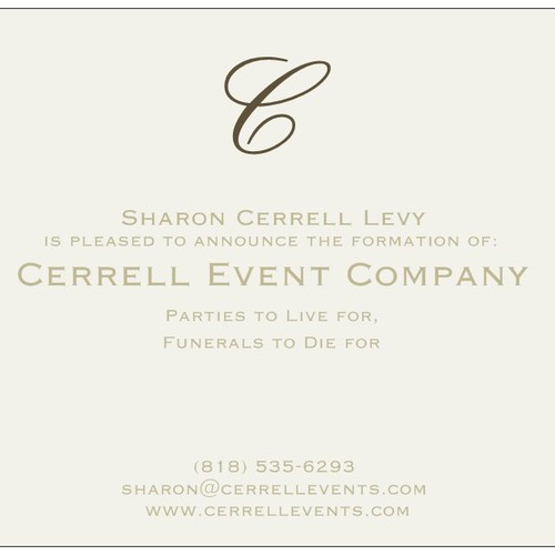 Create an announcement card for the launch of a new special events company