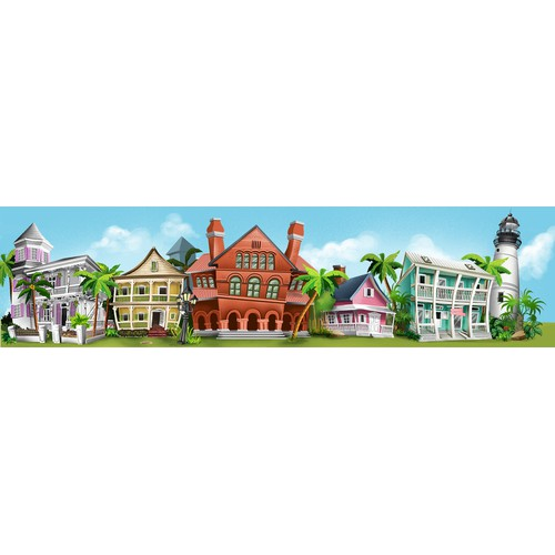 Create a whimsical mural of Key West for themed playground!