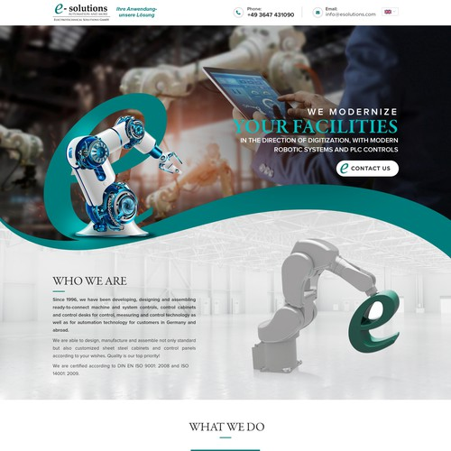 Futuristic Landing page for Automation Company