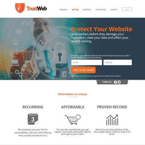 Creative website design for web security service company!