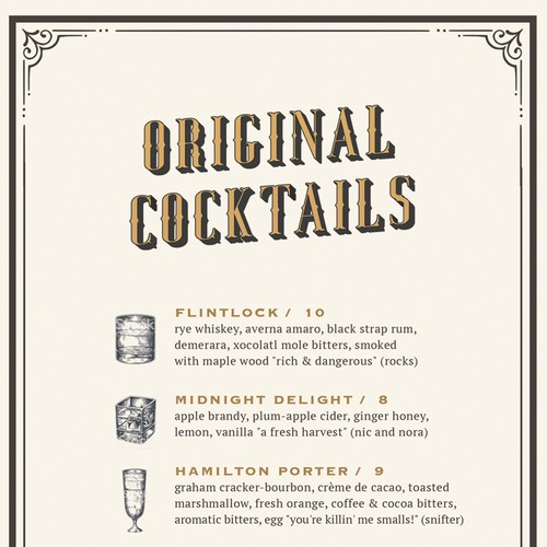 Vintage Cocktail Menu Design for Upscale Lounge