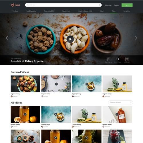 Mazi Videos Page Design
