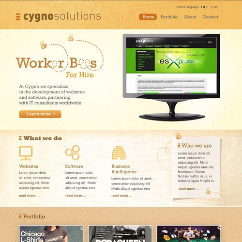 Website design for a company that hires out worker bees