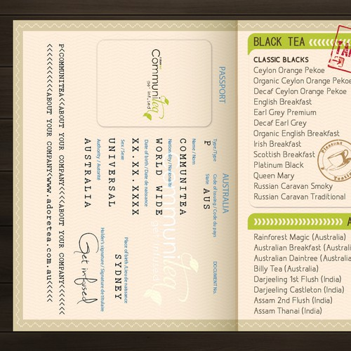 Cool new 'passport' menu design needed for Adore Tea