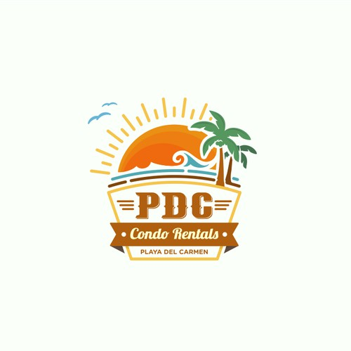 Vintage and fun logo concept for Playa del carmen condo rentals