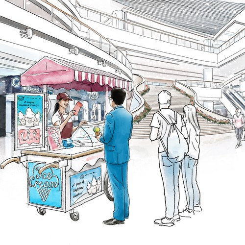 Design sketches of customers purchasing at shopping mall