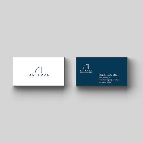 ARTERRA logo design and business card