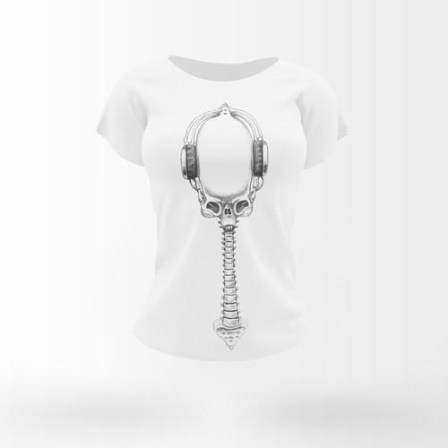 Skull t-schirt design. HR Giger style.