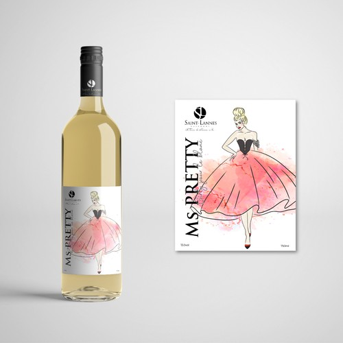 Label Concept for the White Wine named  Ms. Preety