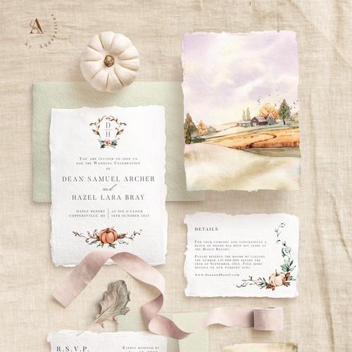 Romantic Fall Wedding Invitations