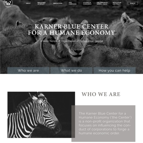 Homepage of an animal welfare investment firm