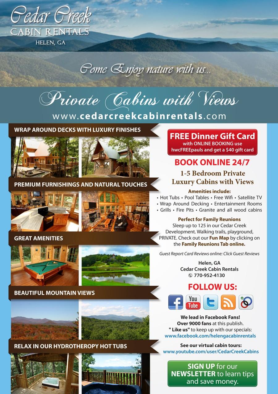 Cedar Creek Cabin Rentals needs a new print or packaging design