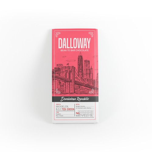 Label for Dalloway chocolate company