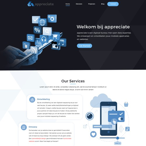 Mobile development company looking for a new website for complete rebranding.