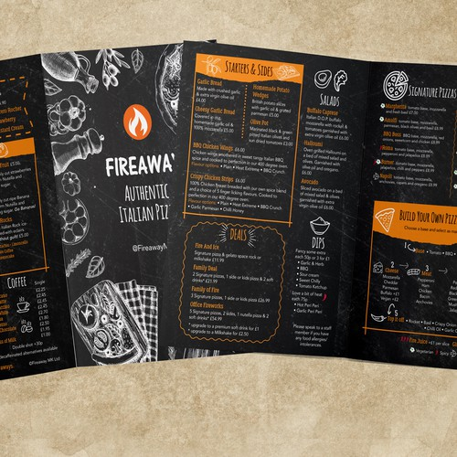 Fun & quirky pizza menu