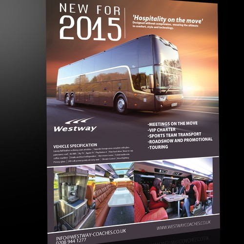 Create a luxurious online flyer for a London coach provider.