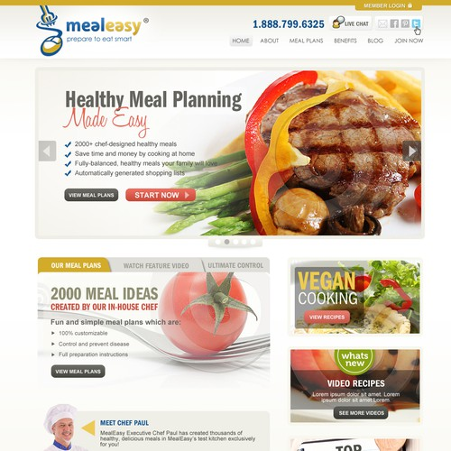 Help mealeasy.com with a new website design