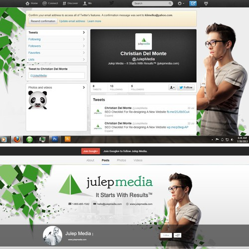 Social Media Profile Designs: FB, Twitter, Google+, LinkedIn Company Page