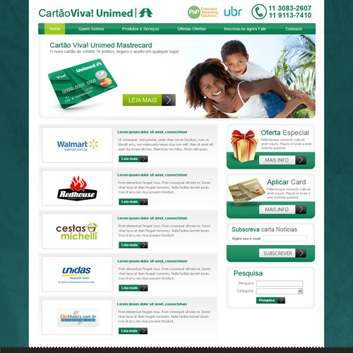 Health Care Benefits website for a Credit Card