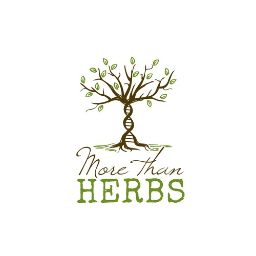 Logo concept for a website selling herbs, based on the image of a DNA helix tree