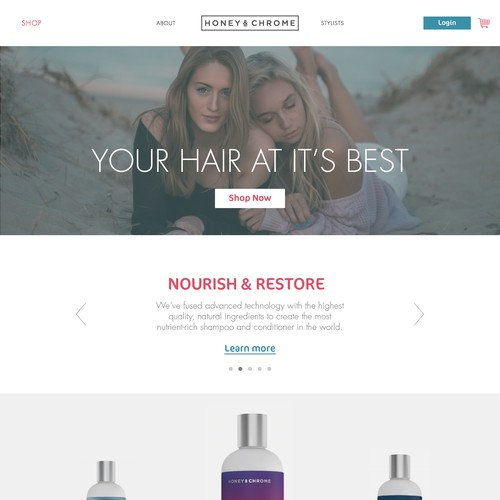 Webpage for a haircare product line